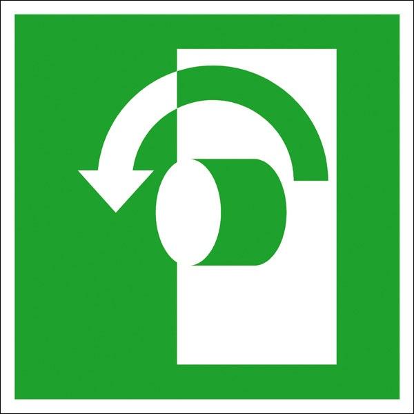 Rettungszeichen: Öffnung durch Linksdrehung | Kunststoff | 15x15cm