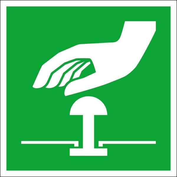Rettungszeichen: Not-Halt-Knopf | Aufkleber | 20x20cm