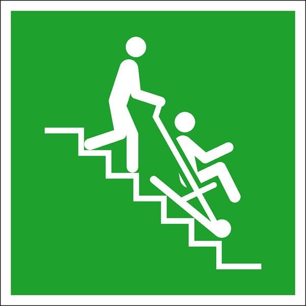 Rettungszeichen: Rettungsstuhl | Aufkleber | 20x20cm