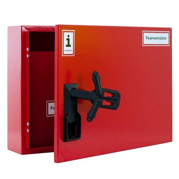 A3-Wandschrank für Feuerwehrpläne   Stahlblech RAL 3000   Doppelschwenkhebel für 2 PHZ