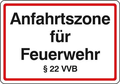 Hinweisschild für die Feuerwehr: Anfahrtszone | Aluminium geprägt | 50x35cm