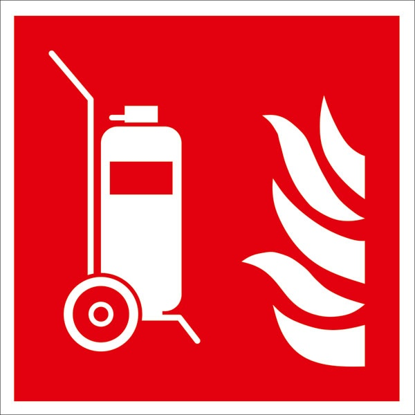 Brandschutzzeichen: Fahrbarer Feuerlöscher   Aluminium   15x15cm