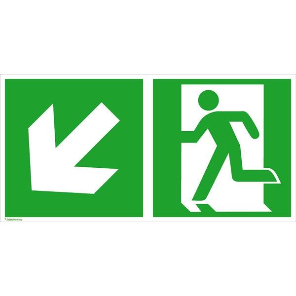 Rettungszeichen: Rettungsweg links abwärts | Aufkleber | 30x15cm