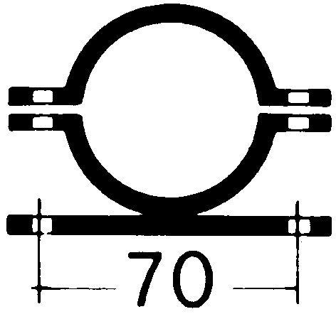 Rohrschelle | feuerverzinkter Stahl | Lochabstand: 70 mm