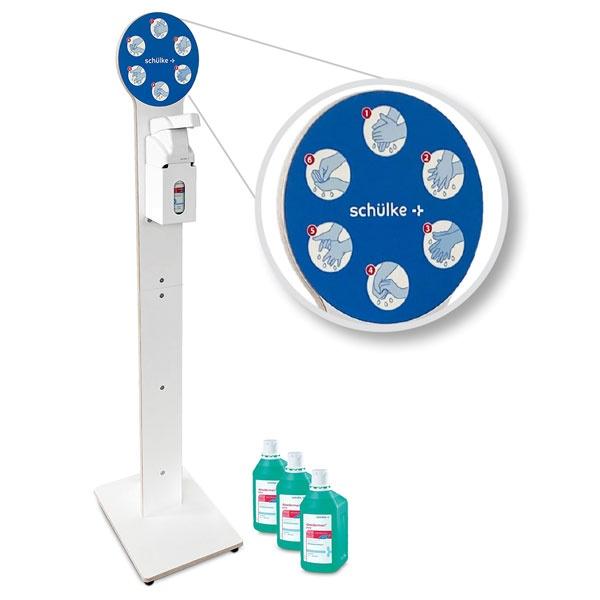 Design-Hygiene-Tower | Desinfektionsmittelspender mit Armhebel | weiß