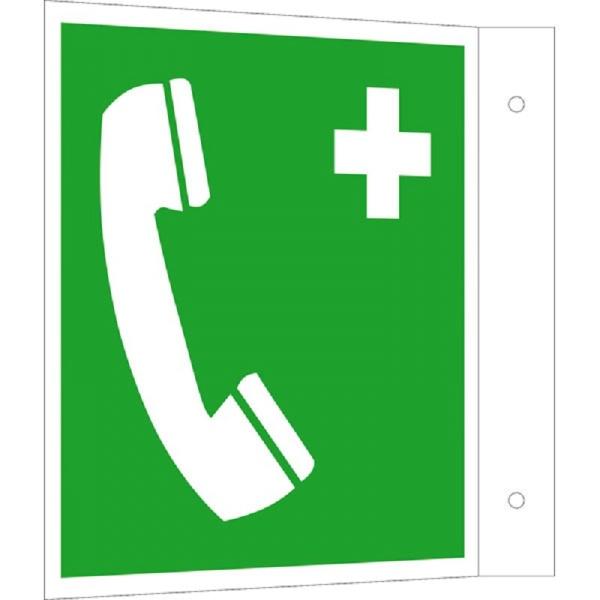 Erste-Hilfe-Schild: Notruftelefon | Kunststoff | 20x20cm