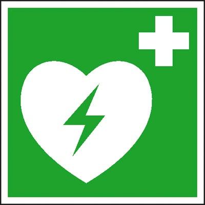 Erste-Hilfe-Schild: Defibillator (AED) | Aufkleber | 5x5cm