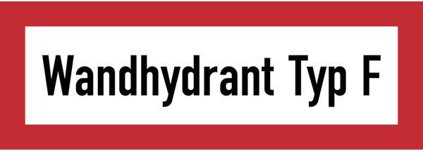 Hinweisschild für die Feuerwehr: Wandhydrant Typ F | Aufkleber | 21x7,4cm