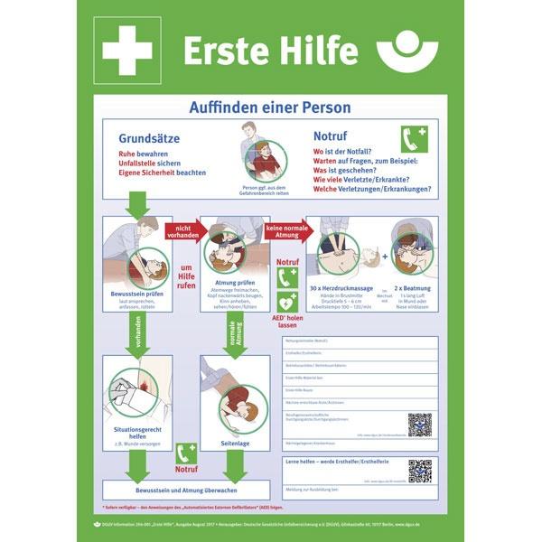 Erste-Hilfe-Aushang der Berufsgenossenschaft