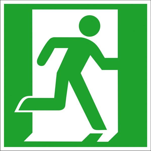 Rettungszeichen: Notausgang rechts | Aluminium | 20x20cm