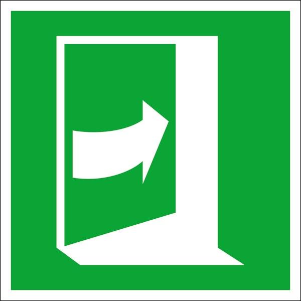 Rettungszeichen: Tür rechts drücken | Aluminium | 15x15cm