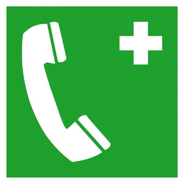 Erste-Hilfe-Schild: Notruftelefon | Aufkleber | 15x15cm