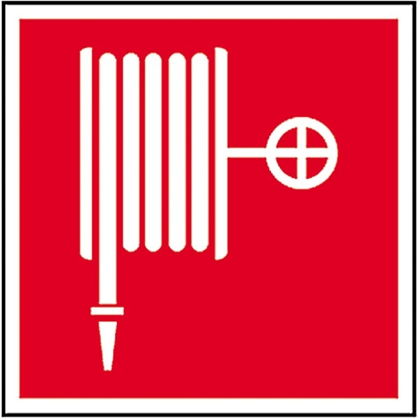 Brandschutzzeichen: Löschschlauch   Aufkleber   20x20cm