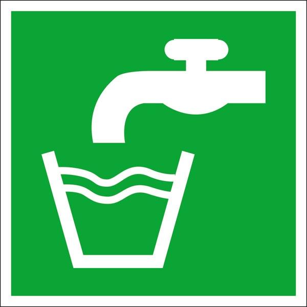 Rettungszeichen: Trinkwasser   Aluminium   20x20cm