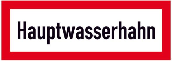 Hinweisschild für die Feuerwehr: Hauptwasserhahn | Aufkleber | 29,7x10,5cm