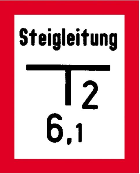 Hinweisschild für die Feuerwehr: Steigleitung / Schieber | Aluminium geprägt | 20x25cm
