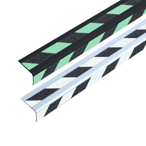 Doppel-Treppenkantenprofil | selbstklebend | schwarz/gelb nachleuchtend
