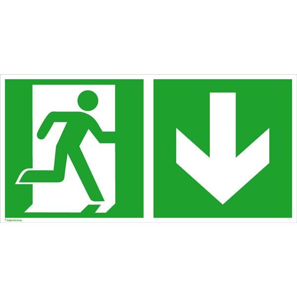 Rettungszeichen: Notausgang rechts abwärts | Aufkleber | 30x15cm