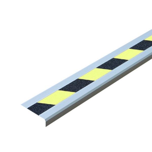 """Antirutsch-Treppenkantenprofil """"Easy Clean""""   schraubbar   schwarz/gelb tagesfloureszierend"""
