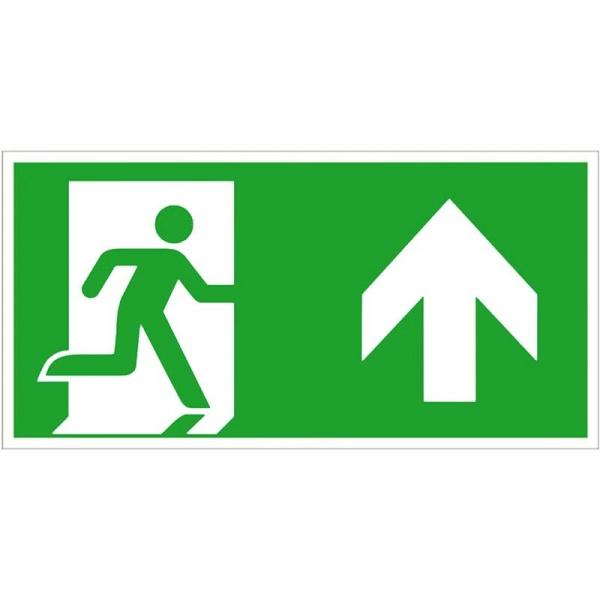 Rettungszeichen: Notausgang rechts geradeaus / aufwärts | Kunststoff | 30x15cm