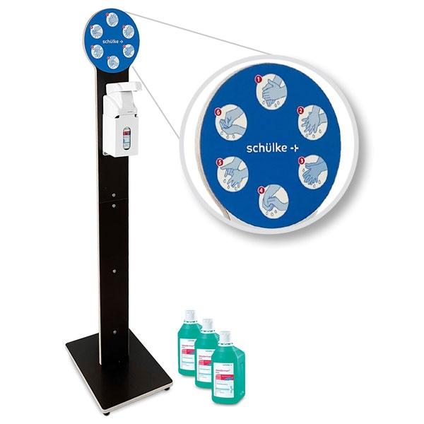 Design-Hygiene-Tower | Desinfektionsmittelspender mit Armhebel | braun