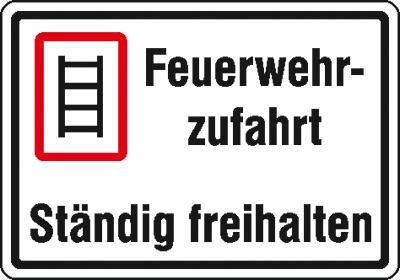Hinweisschild für die Feuerwehr: Feuerwehrzufahrt | Aluminium | 50x35cm