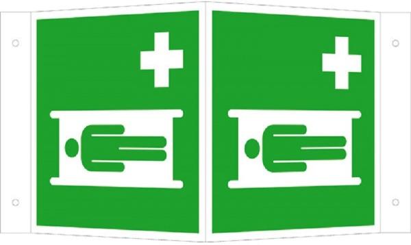 Erste-Hilfe-Schild: Krankentrage   Aluminium   15x15cm