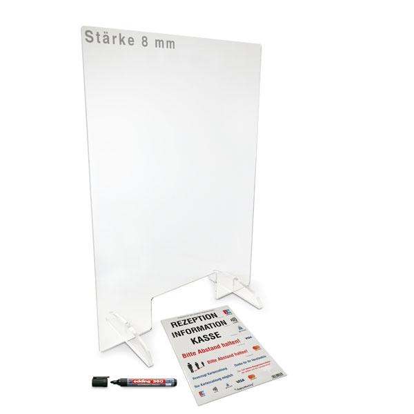 Mobiler Acrylglas-Hygieneschutz mit Durchreiche