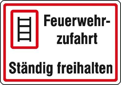 Hinweisschild für die Feuerwehr: Feuerwehrzufahrt | Aluminium geprägt | 50x35cm