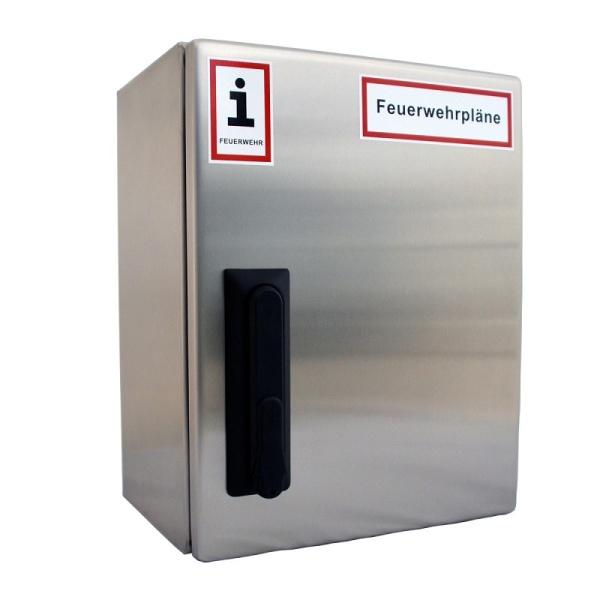 A4-Wandschrank für Feuerwehrpläne | Edelstahl | Schwenkhebelgriff für Profilhalbzylinder