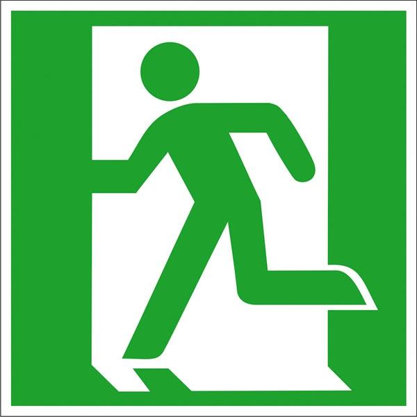 Rettungszeichen: Notausgang links | Aufkleber | 15x15cm
