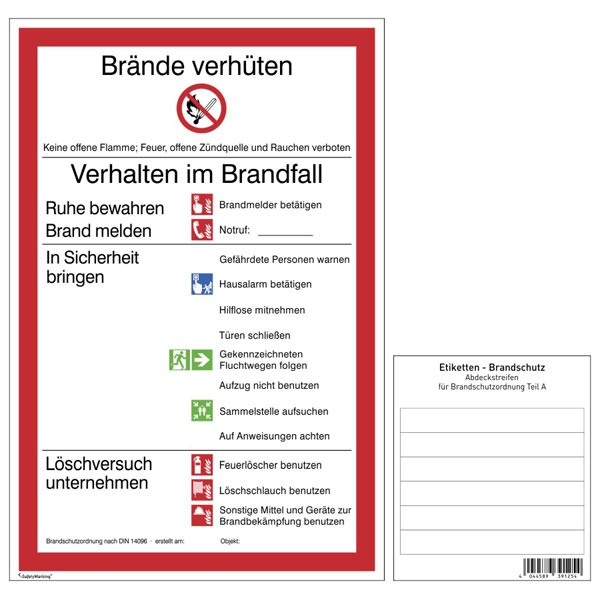 Brandschutzschild: Brandschutzordnung, Teil A   Kunststoff   20x30cm