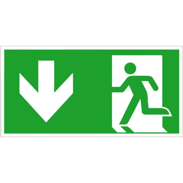 Rettungszeichen: Notausgang links abwärts   Kunststoff   30x15cm