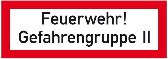 Hinweisschild für die Feuerwehr: Gefahrengruppe 2 | Aluminium geprägt | 29,7x10,5cm