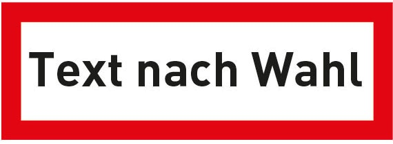 Hinweisschild für die Feuerwehr: Text nach Wahl | Aluminium | 42x14,8cm