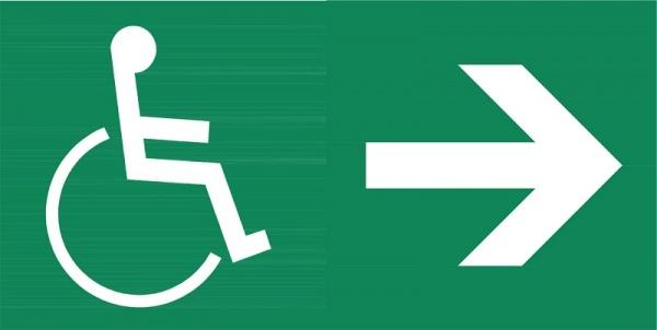 Rettungszeichen: Rettungsaufzug, Ausgang rechts | Aufkleber | 8x4cm