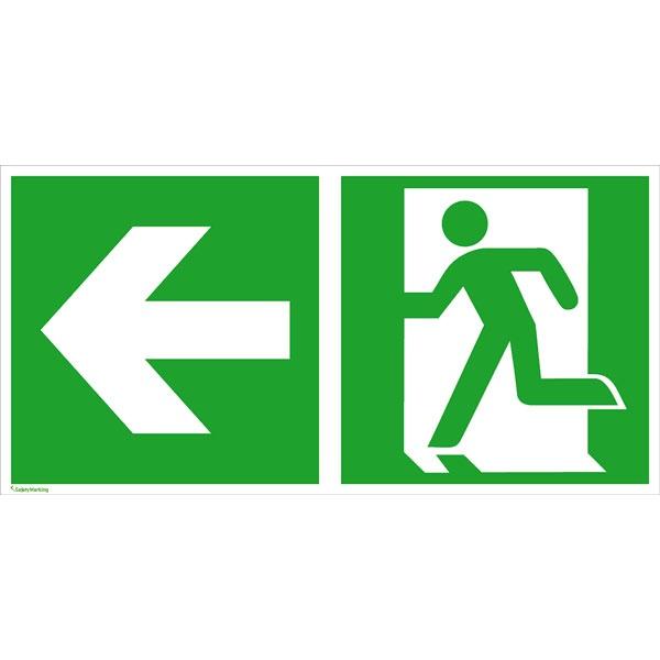 Rettungszeichen: Rettungsweg links | Aluminium | 30x15cm