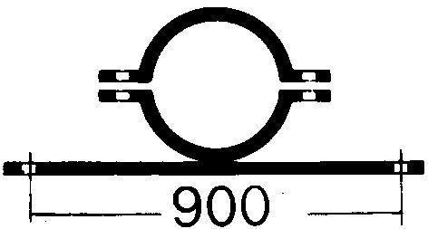 Rohrschelle   feuerverzinkter Stahl   Lochabstand: 900 mm
