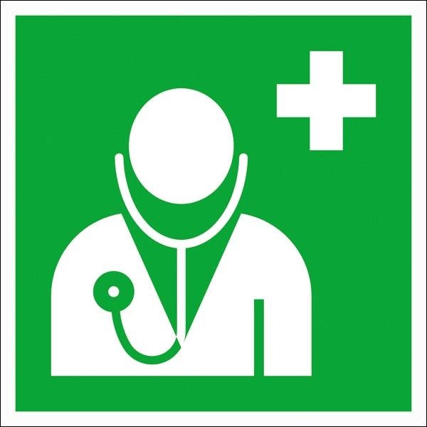 Erste-Hilfe-Schild: Arzt | Aufkleber | 20x20cm