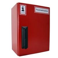 A4-Wandschrank für Feuerwehrpläne | Stahlblech RAL 3000 | Schwenkhebelgriff PHZ