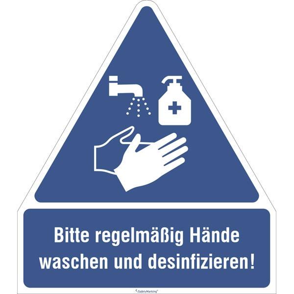Gebotsschild | Hände waschen & desinfizieren | Kunststoff