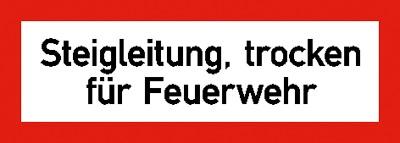 Hinweisschild für die Feuerwehr: Steigleitung, trocken | Aluminium geprägt | 29,7x10,5cm