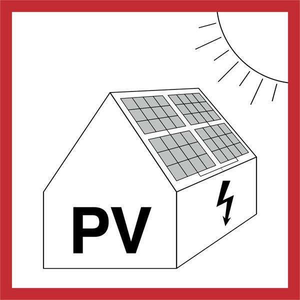 Warnschild für die Feuerwehr: Gefahren durch Photovoltaikanlage | Aufkleber | 14,5x14,5cm