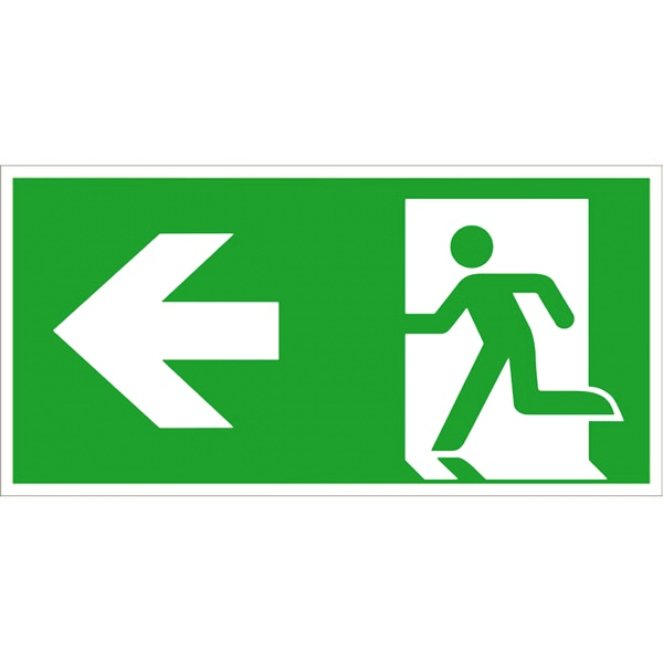Rettungszeichen: Rettungsweg links | Aluminium | 40x20cm