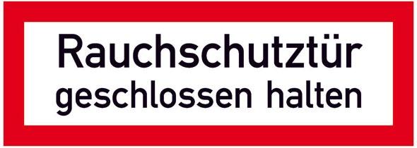 Hinweisschild für die Feuerwehr: Rauchschutztür | Aufkleber | 21x7,4cm