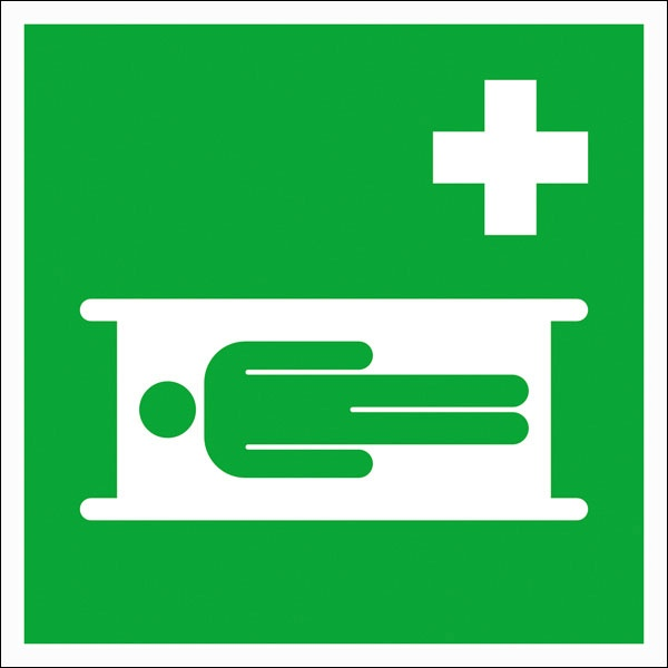Erste-Hilfe-Schild: Krankentrage   Aufkleber   15x15cm