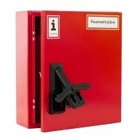 A4-Wandschrank für Feuerwehrpläne | Stahlblech RAL 3000 | Doppelschwenkhebel für 2 PHZ