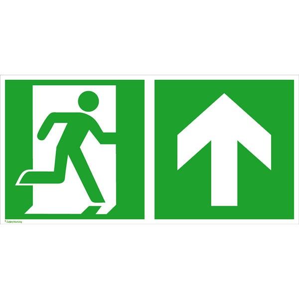 Rettungszeichen: Notausgang rechts geradeaus / aufwärts | Aluminium | 60x30cm