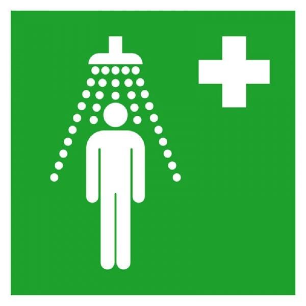 Erste-Hilfe-Schild: Notdusche | Aufkleber | 15x15cm