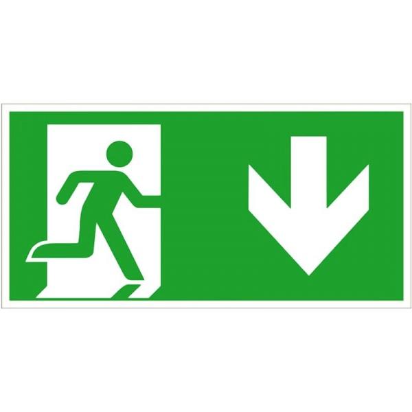 Rettungszeichen: Notausgang rechts aufwärts | Kunststoff | 30x15cm